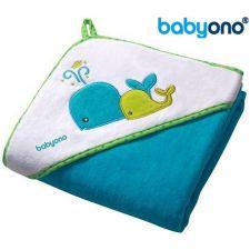 Baby Ono - Toalha de veludo com capuz 100x100 Azul