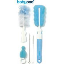 Baby Ono - Conjunto de escova para biberões e tetinas com pega removível e mini esponja azul